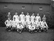 Irish Rugby Football Union, Ireland v England, Five Nations, Landsdowne Road, Dublin, Ireland, Saturday 14th February, 1953,.14.2.1953, 2.14.1953,..Referee- MR A W C Austin, Scottish Rugby Union, ..Score- Ireland 9 - 9 England, ..Engish Team,..N M Hall, Wearing number 1 Engish jersey, Full back, Richmond Rugby Football Club, Surrey, England,..R C Bazley, Wearing number 2 English jersey, Left wing, Waterloo Rugby Football Club, Liverpool, England,..L B Cannell, Wearing number 3 English jersey, Left centre, St Mary's Hospital Rugby Football Club, London, England,..A E Agar, Wearing number 4 English jersey, Right centre, Harlequins Rugby Football Club, London, England,..J E Woodward, Wearing number 5 English jersey, Right wing, Wasps Rugby Football Club, London, England, ..M Regan, Wearing number 6 English jersey, Stand Off, Liverpool University Rugby Football Club, Liverpool, England, ..P W Sykes, Wearing number 7 English jersey, Scrum, Wasps Rugby Football Club, London, England, ..W A Holmes, Wearing number 8 English jersey, Forward, Nuneaton Rugby Football Club, Warwickshire, England,..E Evans, Wearing number 9 English jersey, Forward, Sale Rugby Football Club, Manchester, England,..R V Stirling, Wearing number 10 English jersey, Forward, R A F Rugby Football Club, England, and, Leicester Rugby Football Club, Leicester, England, ..D T Wilkins, Wearing number 11 English jersey, Forward, Royal Navy Rugby Football Club, Portsmouth, England, and, U S Portsmouth Rugby Football Club, Portsmouth, England, ..S J Adkins, Wearing number 12 English jersey, Forward, Coventry Rugby Football Club, Coventry, England, ..D F White, Wearing number 13 English jersey, Forward, Northhampton Rugby Football Club, Northhampton, England, ..J McG Kendell-Carpenter, Wearing number 14 English jersey, Forward, Bath Rugby Football Club, Somerset, England,..A O Lewis, Wearing number 15 English jersey, Forward, .Bath Rugby Football Club, Somerset, England,..