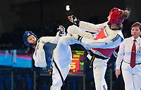 Burnaby, Canada. 20 November, 2016. WTF World Taekwondo Junior Championships Polina Khan (RUS) blue, and Lauren Williams (GBR) red compete in the female 68kg. final won by Williams.  Photo: Peter Llewellyn