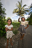 Kuala Trang Village near Meulaboh - Aceh, Indonesia  Nov. 2008. (Heifer Participant) Two girls play in the street.