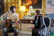 Singer-songwriter Declan O&rsquo;Rourke performed songs from his latest album &ldquo;Chronicles of the Great Famine&rdquo; as part of his conversation with Professor Christine Kinealy of Quinnipiac University, Connecticut, at The Irish Famine Summer School, at Strokestown Park, Roscommon.<br />  More info http://www.strokestownpark.ie/singer-songwriter-declan-orourke-performs-at-famine-summer-school/  <br /> Photo: James Connolly<br /> 22JUN18<br /> Free Image NO FEE