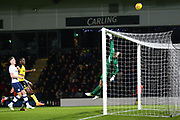 Preston's goalkeeper Chris Maxwell tips the ball over the bar during the EFL Sky Bet Championship match between Burton Albion and Preston North End at the Pirelli Stadium, Burton upon Trent, England on 9 December 2017. Photo by John Potts.