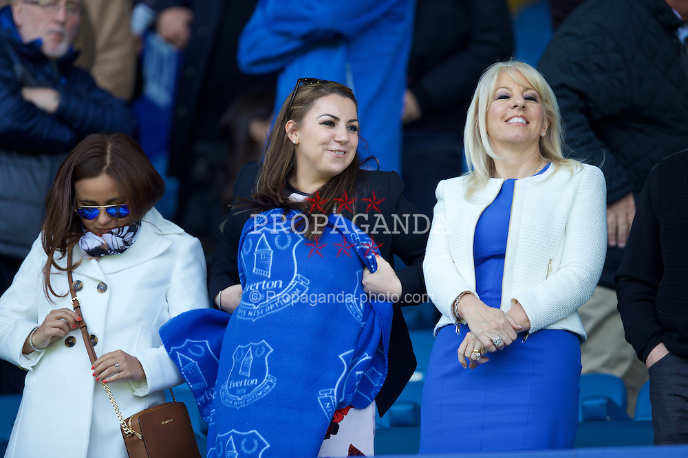 LIVERPOOL, ENGLAND - Sunday, April 26, 2015: Female Everton supporters before the Premier League match against Manchester United at Goodison Park. (Pic by David Rawcliffe/Propaganda)