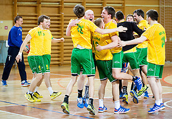 Players of RD Loka celebrate after the handball match between RD Loka and RK Slovenj Gradec in 21st Round of 1B DRL  league 2013/14 on May 10, 2014, in Sportna dvorana Poden, Skofja Loka, Slovenia. Photo by Vid Ponikvar / Sportida