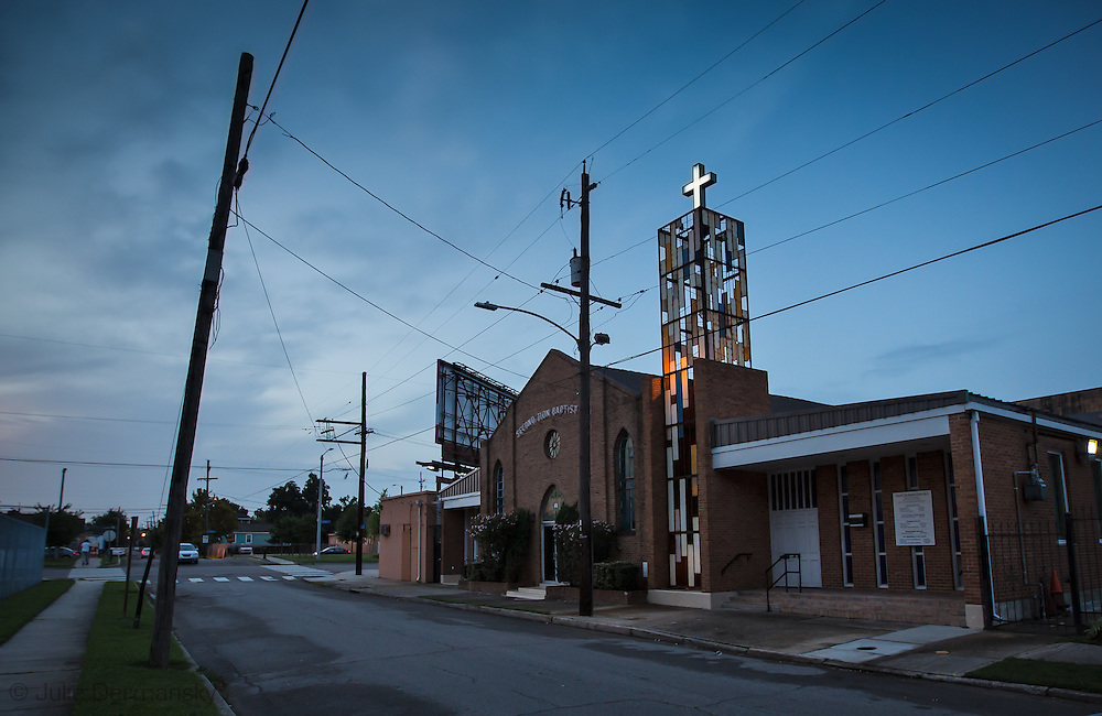 June 12, 2015, New Orleans, LA, church in midcity with signs of Katrina damage nearly ten years after the storm.
