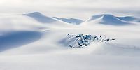Captured while traveling over the glacier of Sjaktbreen on Svalbard. Fresh snow was falling and the light was bright but mystically soft. The glacier cracks presented a striking contrast to the shimmering untouched snow.