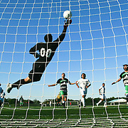 Goldey-Beacom Keeper Ignacio Farias (00) attempts a diving save during a NCAA regular season match against Wilmington University  Wednesday, Sept. 12, 2012. at Kirkwood Soccer Complex...Special to Monsterphoto/SAQUAN STIMPSON