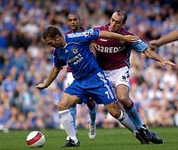 Photo: Daniel Hambury.<br />Chelsea v Aston Villa. The Barclays Premiership. 30/09/2006.<br />Chelsea's Andriy Shevchenko is tackled by Villa's Gavin McCann.