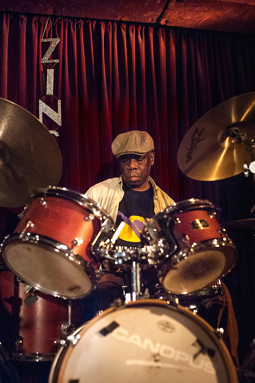 Andrew Cyrille plays drums with Eric Revis on bass and Kris Davis on piano at the Zinc Bar during the 2013 Winter Jazz Fest in New York City, Friday 11 January, 2013.