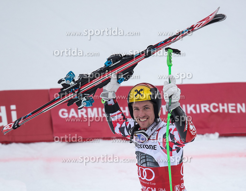 01.03.2015, Kandahar, Garmisch Partenkirchen, GER, FIS Weltcup Ski Alpin, Riesenslalom, Herren, Siegerpräsentation, im Bild Marcel Hirscher (AUT, 1. Platz) // 1st placed Marcel Hirscher of Austria during the winner presentation for the men's Giant Slalom of the FIS Ski Alpine World Cup at the Kandahar course, Garmisch Partenkirchen, Germany on 2015/03/01. EXPA Pictures © 2015, PhotoCredit: EXPA/ Johann Groder