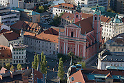 Aerial photo of metropolis Ljubljana with Franciscan Church of the Annunciation. Ljubljana. Slovenia. Eastern Europe.