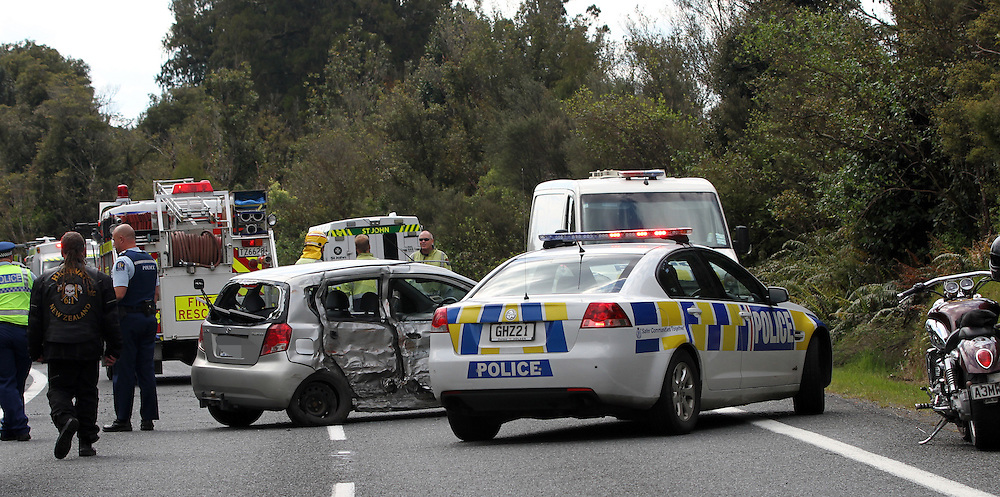 A motorcyclist is dead and others are injured after a collision with in car in the Fitzgerald Glade, Mamaku, near Rotorua, New Zealand, Saturday, November 09, 2013. Credit:SNPA / Peter Graney
