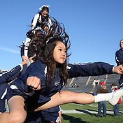 Yale cheerleaders  in action during the Yale V Brown, Ivy League Football match at Yale Bowl. Yale won the match 24-17. New Haven, Connecticut, USA. 9th November 2013. Photo Tim Clayton