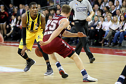 09.12.2017, Audi Dome, Muenchen, GER, EasyCredit BBL, FC Bayern Muenchen Basketball vs MHP Riesen Ludwigsburg, 12. Runde, im Bild Zweikampf zwischen Kerron Johnson (Ludwigsburg) und Anton Gavel (Muenchen) // during the easyCredit Basketball Bundesliga 12th round match between MHP Riesen Ludwigsburg and 12.Spieltag at the Audi Dome in Muenchen, Germany on 2017/12/09. EXPA Pictures &copy; 2017, PhotoCredit: EXPA/ Eibner-Pressefoto/ Marcel Engelbrecht<br /> <br /> *****ATTENTION - OUT of GER*****