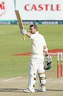 Phillip Hughes celebrates his century (100, ton).  Phillip Hughes is the youngest ever person to score a century in both innings of a test match during day 3 of the 2nd Castle Test between South Africa and Australia held at Kingsmead Sahara park Stadium in Durban, South Africa on the 8 March 2009..Photo by: SPORTZPICS
