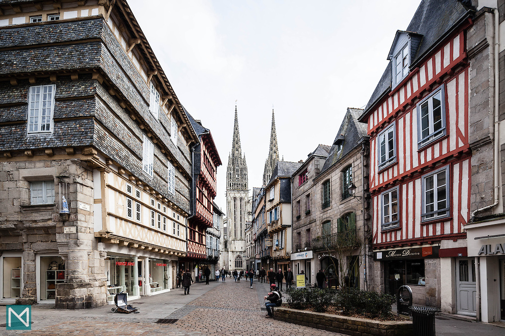Quimper city centre, Brittany, north west France