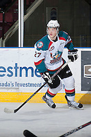 KELOWNA, CANADA - JANUARY 24: Ryan Olsen #27 of the Kelowna Rockets skates on the ice against the Seattle Thunderbirds at the Kelowna Rockets on January 24, 2013 at Prospera Place in Kelowna, British Columbia, Canada (Photo by Marissa Baecker/Shoot the Breeze) *** Local Caption ***