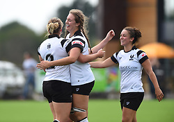 Mackenzie Carson of Bristol Bears Women celebrates her try with Hollie Cunningham of Bristol Bears Women - Mandatory by-line: Paul Knight/JMP - 02/09/2018 - RUGBY - Shaftsbury Park - Bristol, England - Bristol Bears Women v Dragons Women - Pre-season friendly
