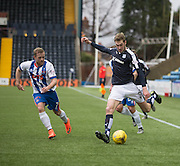 Dundee&rsquo;s Kane Hemmings and Kilmarnock&rsquo;s Rory McKenzie - Kilmarnock v Dundee, Ladbrokes Premiership at Rugby Park<br /> <br />  - &copy; David Young - www.davidyoungphoto.co.uk - email: davidyoungphoto@gmail.com
