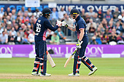 Joe Root of England and Ben Stokes of England touch gloves after a boundary by Ben Stokes during the One Day International match between England and West Indies at the Brightside County Ground, Bristol, United Kingdom on 24 September 2017. Photo by Graham Hunt.