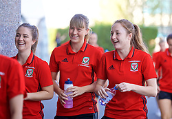 ASTANA, KAZAKHSTAN - Sunday, September 17, 2017: Wales' Gemma Evans and Chloe Lloyd during a pre-match walk ahead of the FIFA Women's World Cup 2019 Qualifying Round Group 1 match against Kazakhstan. (Pic by David Rawcliffe/Propaganda)