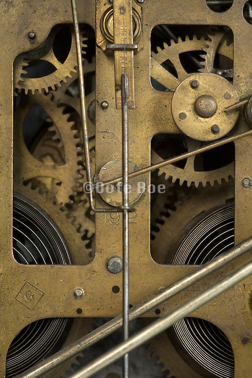 close up of the inside of an antique clockwork
