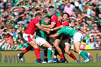 Rugby Union - 2019 pre-Rugby World Cup warm-up (Guinness Summer Series) - Ireland vs. Wales<br /> <br /> Jonathan Sexton (Ireland) is wrapped up by Jonathan Davies (Wales) at The Aviva Stadium.<br /> <br /> COLORSPORT/KEN SUTTON