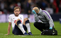 Tottenham Hotspur's Harry Kane reacts to an injury after the final whistle