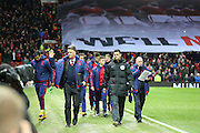 Manchester United Manager Louis van Gaal walks out on the pitch during the Barclays Premier League match between Manchester United and Stoke City at Old Trafford, Manchester, England on 2 February 2016. Photo by Phil Duncan.