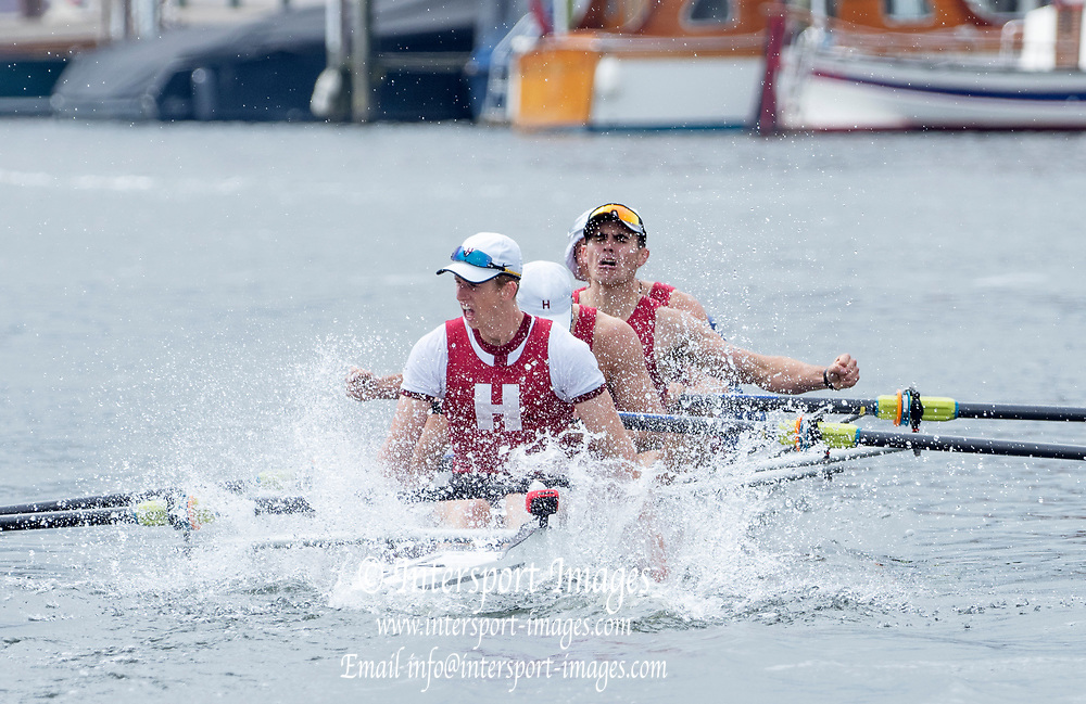 Henley Royal Regatta, 3-7 July 2019. Harvard University, U.S.A., celebrate, after crossing the Finish Line, to win the Prince Albert Challenge Cup, Royal Henley Peace Regatta Centenary, 1919-2019. Henley on Thames.<br /> <br /> <br /> <br /> [Mandatory Credit: Patrick WHITE/Intersport Images], 7, 07/07/2019,  11:47:38