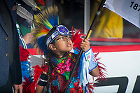 REGINA, SK - MAY 23: First nations flag bearer at the Brandt Centre on May 23, 2018 in Regina, Canada. (Photo by Marissa Baecker/CHL Images)