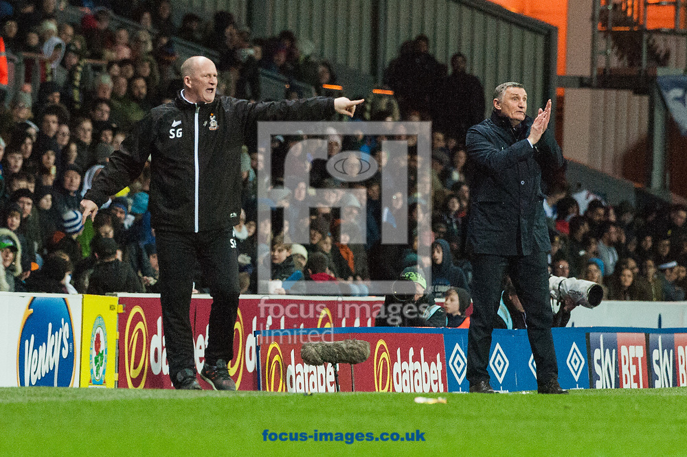 Bradford City manager Simon Grayson (left) and Blackburn Rovers manager Tony Mowbray during the Sky Bet League 1 match at Ewood Park, Blackburn<br /> Picture by Matt Wilkinson/Focus Images Ltd 07814 960751<br /> 29/03/2018