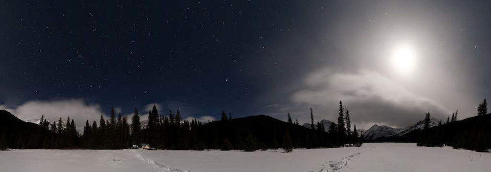 Jacques Lake, Jasper National Park  in moonlight