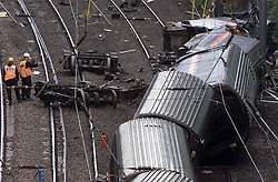 Hatfield, the morning after the train crash. Investigators and Police at the scene of the crash. The remains of the crash. New parts of the track waiting to be put on the tracy which was used by the Kings Cross to Leeds train yesterday which crashed. .Photo by Andrew Parsons/i-Images.All Rights Reserved ©Andrew Parsons/i-images.See Instructions.