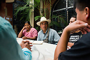 Members of the AJR meet to discuss responses to forthcoming court hearings. Formed by genocide survivors, the AJR succeeded in bringing criminal charges in Guatemalan courts against former military leaders. Guatemala City, October 2011.
