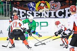 Aljaz Uduc of HK SZ Olimpija during ice hockey match between HK SZ Olimpija and HDD SIJ Acroni Jesenice in AHL - Alps Hockey League 2017/18, on October 25, 2017 in Hala Tivoli, Ljubljana, Slovenia. Photo by Matic Klansek Velej / Sportida