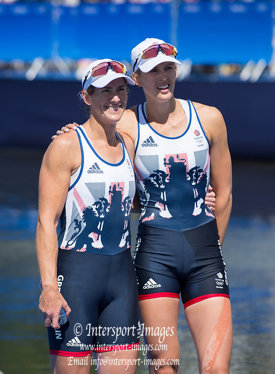 Rio de Janeiro. BRAZIL.  Silver Medalist GBR W2X. Bow Victoria THORNILY and Katherine GRAINGER . 2016 Olympic Rowing Regatta. Lagoa Stadium,<br /> Copacabana,  &ldquo;Olympic Summer Games&rdquo;<br /> Rodrigo de Freitas Lagoon, Lagoa. Local Time 11:21:02  Thursday  11/08/2016 <br /> [Mandatory Credit; Peter SPURRIER/Intersport Images]