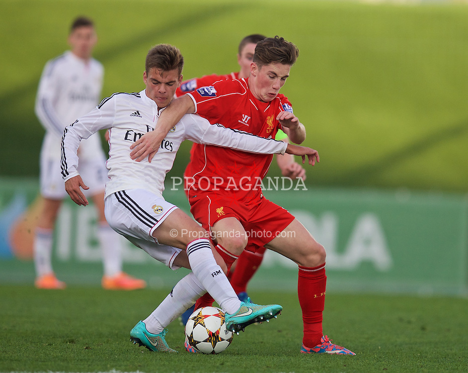 MADRID, SPAIN - Tuesday, November 4, 2014: Liverpool's Harry Wilson in action against Real Madrid CF during the UEFA Youth League Group B match at Ciudad Real Madrid. (Pic by David Rawcliffe/Propaganda)