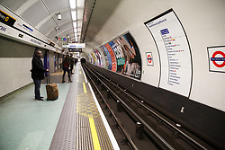 © Licensed to London News Pictures. 17/03/2020. London, UK. A nearly empty platform at Kings Cross underground station. London Transport will reduce weekday services during the coronavirus crisis to a weekend level of service. Photo credit: Dinendra Haria/LNP