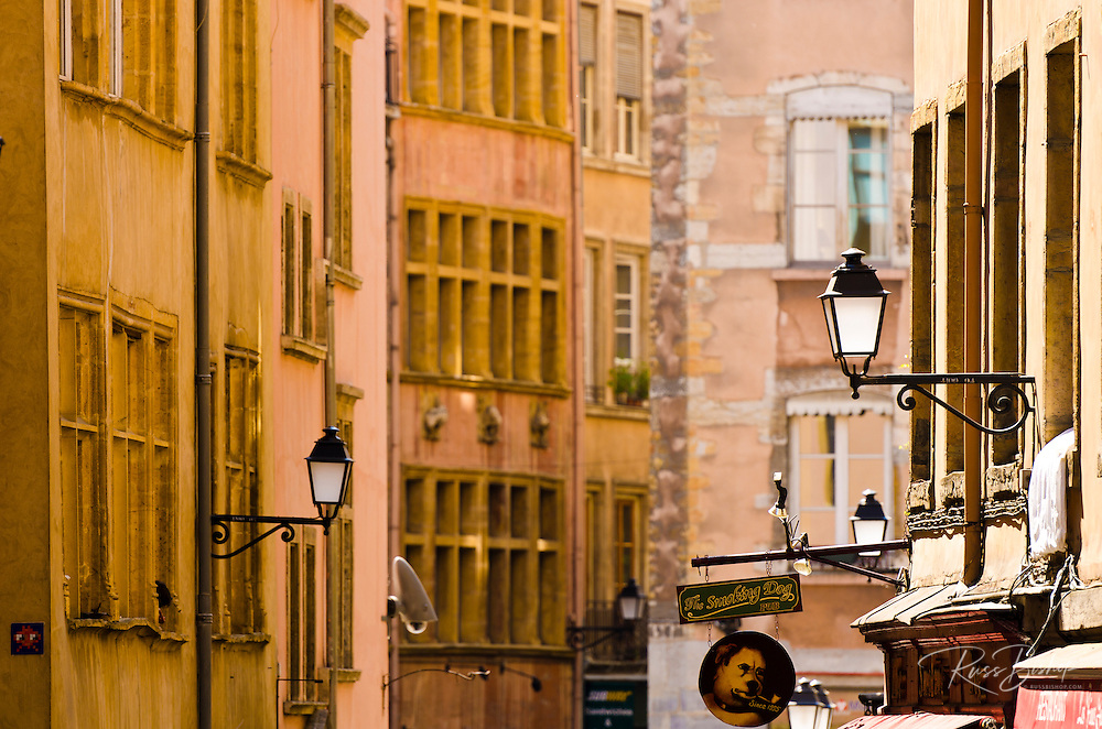 Narrow street and shops in old town Vieux Lyon, France  (UNESCO World Heritage Site)