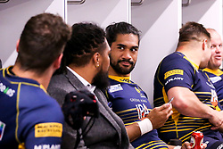 Michael Fatialofa of Worcester Warriors celebrate after beating Gloucester Rugby and securing Premiership Rugby status - Mandatory by-line: Robbie Stephenson/JMP - 28/04/2019 - RUGBY - Sixways Stadium - Worcester, England - Worcester Warriors v Gloucester Rugby - Gallagher Premiership Rugby