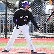 Pavel Chavez-Rusova #15 of the Niagara Purple Eagles prepares to hit during the game at Friedman Diamond on March 16, 2014 in Brookline, Massachusetts. (Photo by Elan Kawesch)