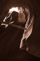 Upper Antelope Canyon, Page Arizona. Image taken with a Nikon D3 camera and 24-70 mm f/2.8 lens (ISO 200, 24 mm, f/16, 3 sec). Image processed with Capture One Pro (including conversion to sepia)..