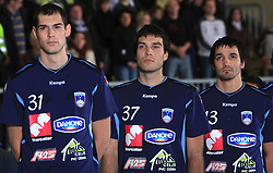 Team Slovenia (Nenad Bilbija, Dino Bajram and David Spiler) at handball match of 5th Round of qualifications for EHF Euro 2010 in Austria between National team of Slovenia vs Bulgaria, on November 30, 2008 in Velenje, Slovenia. (Photo by Vid Ponikvar / Sportida)