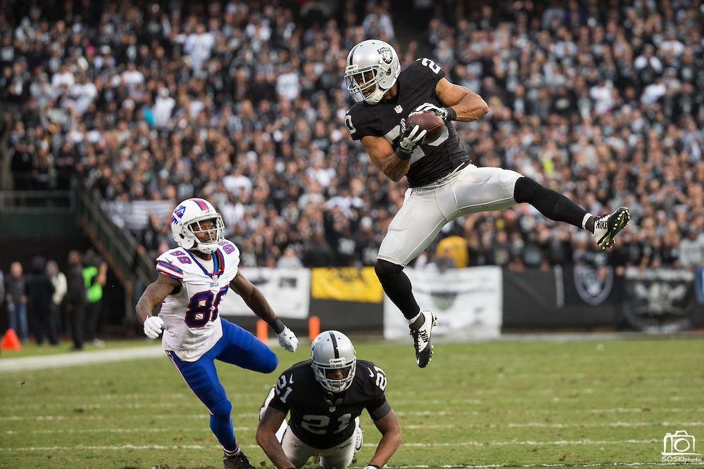 Oakland Raiders strong safety Nate Allen (20) intercepts a pass against the Buffalo Bills at Oakland Coliseum in Oakland, Calif., on December 4, 2016. (Stan Olszewski/Special to S.F. Examiner)
