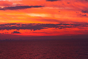 Dramatic sunset with red, yellow and orange sky. Photographed in Florida USA
