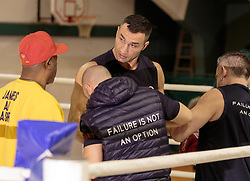 10.11.2015, Stanglwirt, Going, AUT, Wladimir Klitschko, Training, Kampfvorbereitung gegen Tyson Fury (GBR), im Bild v.l. Assistent Coach James Ali Bashir, Wladimir Klitschko, Physiotherapeut Aldo Vetere // Assistent Coach James Ali Bashir ( L ) Wladimir Klitschko ( C ) Physiotherapeut Aldo Vetere ( R ) during a training session in front of his Fight against Tyson Fury (GBR) at the Stanglwirt in Going, Austria on 2015/11/10. EXPA Pictures © 2015, PhotoCredit: EXPA/ Johann Groder