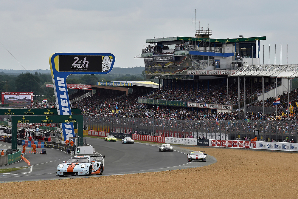 #86 Gulf Racing Porsche 911 RSR: Michael Wainwright, Benjamin Barker, Alex Davison<br /> Saturday 16 June 2018<br /> 24 Hours of Le Mans<br /> 2018 24 Hours of Le Mans<br /> Circuit de la Sarthe  FR<br /> World Copyright: Scott R LePage