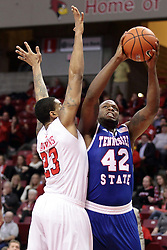 22 December 2015: Deontae Hawkins(23) stands in the way of Christian Griggs-Williams(42). Illinois State Redbirds host the Tennessee State Tigers at Redbird Arena in Normal Illinois (Photo by Alan Look)