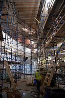 Colonial Theater restoration work - ceiling, stencils, painting.  ©2020 Karen Bobotas Photographer