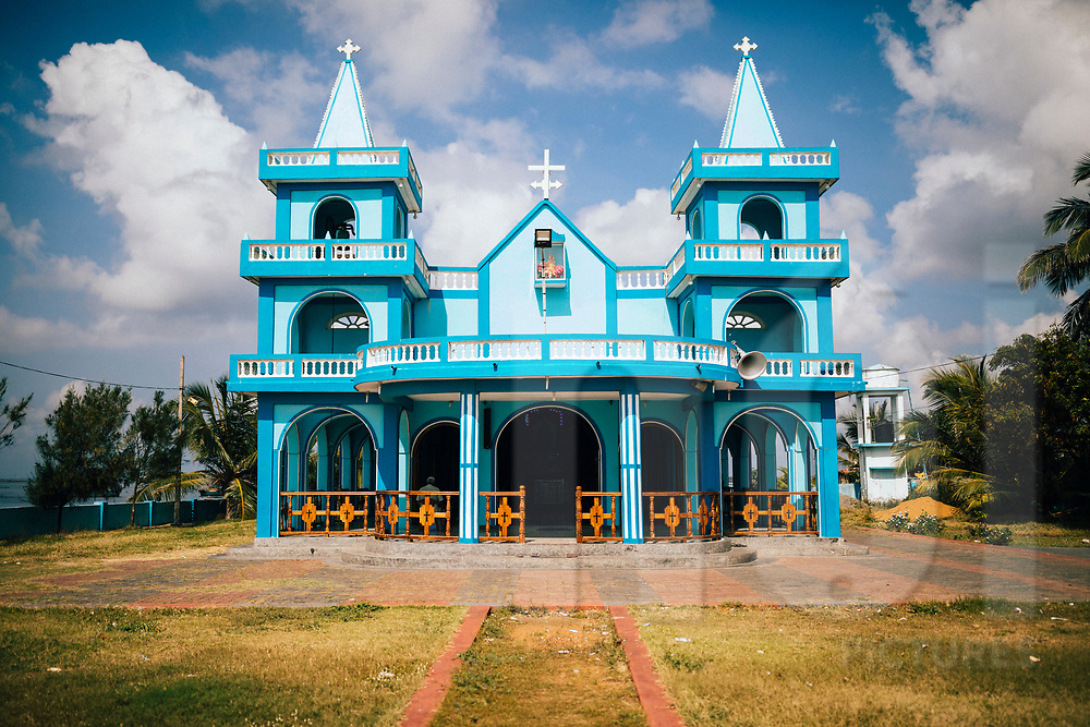 A small church in a fishing village along the shore of Jaffna,  Sri Lanka Asia